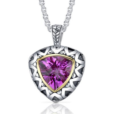 Trillion Checkerboard Cut 7.75 Carats Pink Sapphire Antique Style Pendant in Sterling Silver