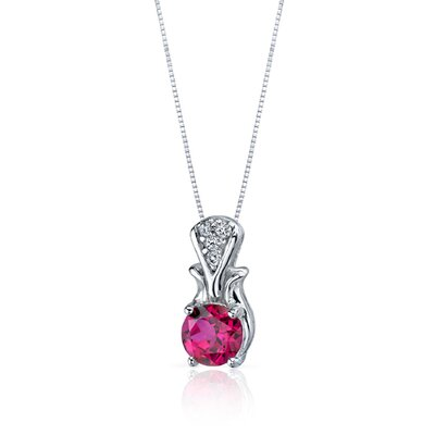 Oravo Regal Radiance 1.75 Carats Round Shape Ruby Pendant in Sterling Silver