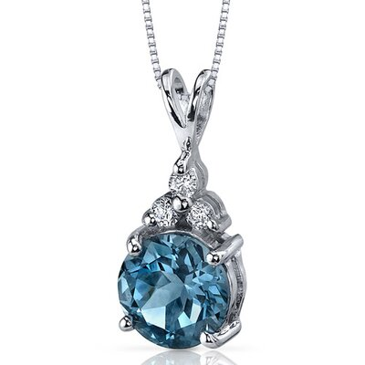 Oravo Refined Class 2.25 Carats Round Shape London Blue Topaz Pendant in Sterling Silver