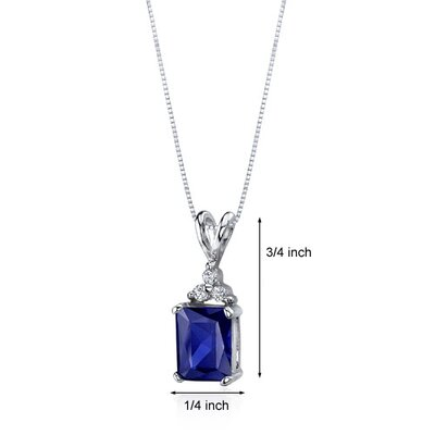 Oravo Dynamic Seduction 3.00 Carats Radiant Shape Blue Sapphire Pendant in Sterling Silver