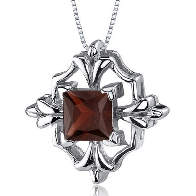 Captivating Brilliance 1.25 Carats Princess Cut Garnet Pendant in Sterling Silve