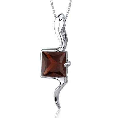 Vivid Grace 2.00 Carats Princess Cut Garnet Pendant in Sterling Silve