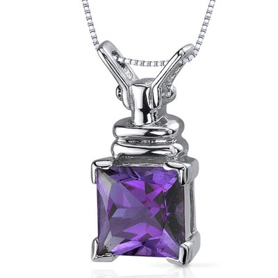 Oravo Boldly Regal 2.00 Carats Princess Cut Amethyst Pendant in Sterling Silve
