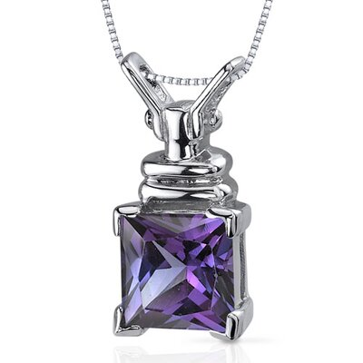 Boldly Regal 3.25 Carats Princess Cut Alexandrite Pendant in Sterling Silve