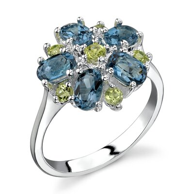 Oravo Flower Design 3.25 carats London Blue Topaz Peridot Ring in Sterling Silver