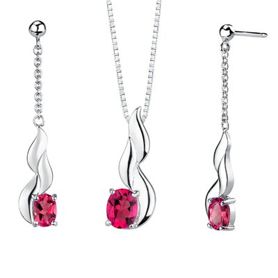 Oravo 0.38&quot; Oval Shape Ruby Pendant Earrings Set in Sterling Silver