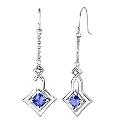 "Oravo 0.75"" Princess Cut Sapphire Pendant Earrings Set in Sterling Silver"