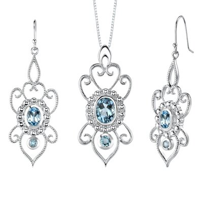 Oravo 5.00 carats Oval and Round Shape Swiss Blue Topaz Pendant Earrings Set in Sterling Silver