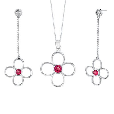 Oravo Round Shape Ruby Pendant Earrings Set in Sterling Silver