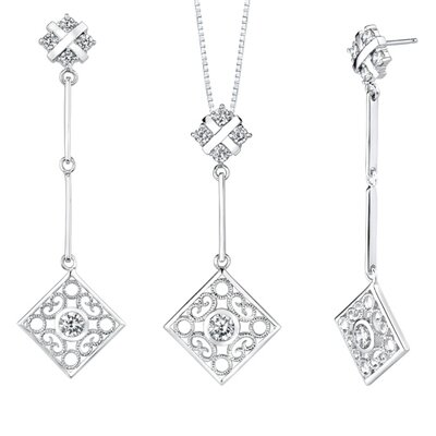 Oravo Round Shape White Cubic Zirconia Pendant Earrings Set in Sterling Silver