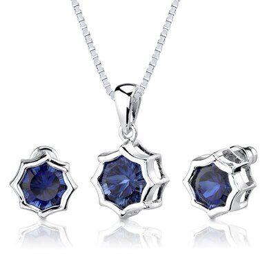 Exclusive Splendor Concave-Cut Snowflake Shape Pendant Earring Set in Sterling Silver