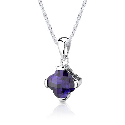 Oravo Classic Magic 8.25 Carats Checkerboard Lily Cut Alexandrite Pendant Earring Set in Sterling Silver