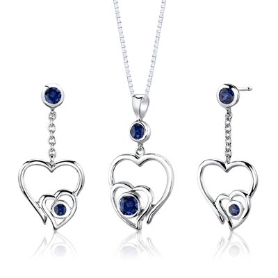 "Oravo Sterling Silver Round Shape Sapphire Pendant Earrings and 18"" Necklace Set"