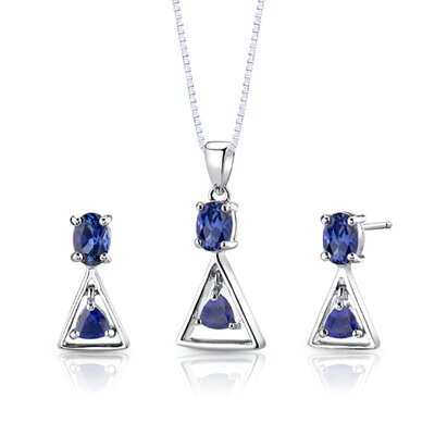 Sterling Silver 2.75 Carats Multishape Sapphire Pendant Earrings and 18