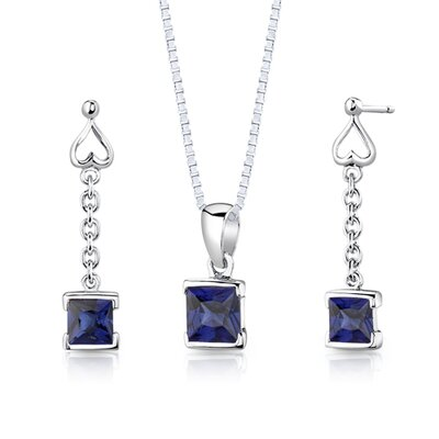 "Oravo Sterling Silver 2.75 Carats Princess Cut Sapphire Pendant Earrings and 18"" Necklace Set"