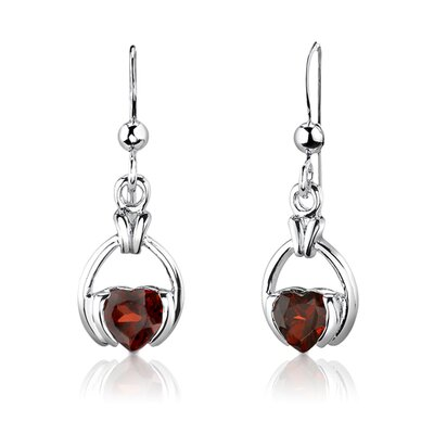 "Oravo Sterling Silver 2.00 Carats Heart Shape Garnet Pendant Earrings and 18"" Necklace Set"
