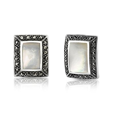 Oravo Stately Style Sterling Silver Marcasite and Mother of Pearl Framed Pendant and Earring Set