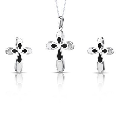 CROSS Design Black and White Mother of Pearl Pendant Earrings Necklace Set Sterling Silver