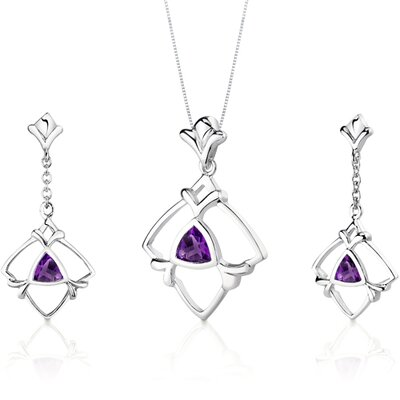 Oravo Artful Trillion Cut Sterling Silver Pendant Earrings Set