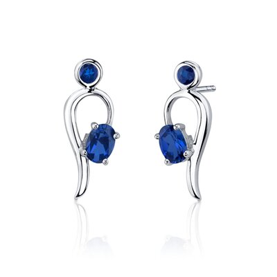 Oravo Trendy 3.00 Carats Oval Round Shape Sterling Silver Sapphire Pendant Earrings Set