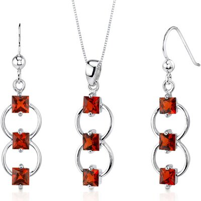 3 Stone 3.75 Carats Princess Cut Sterling Silver Garnet Pendant Earrings Set