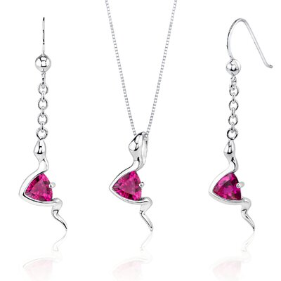 Contemporary Style 1.50 Carats Trillion Cut Sterling Silver Ruby Pendant Earrings Set