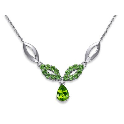 Oravo Gorgeous 4.00 Carats Pear and Round Shape Peridot Multi-Gemstone Pendant Necklace in Sterling Silver