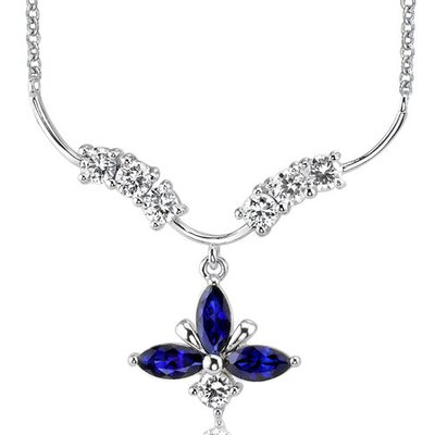 Oravo Luxurious Marquise Shape Created Sapphire and Round Shape White CZ Pendant Necklace in Sterling Silver