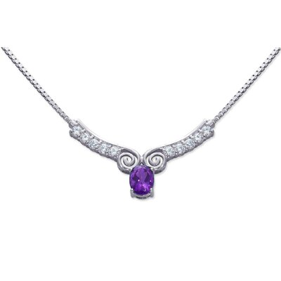 Chic 1.50 carats Oval Shape Amethyst and White CZ Gemstone Necklace in Sterling Silver