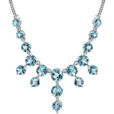 Oravo Luxurious 20.25 carats Round Shape Swiss Blue Topaz Multi-Gemstone Necklace in Sterling Silver