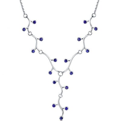 Cleopatra Style Round Shape Created Sapphire Gemstone Pendant Necklace in Sterling Silver