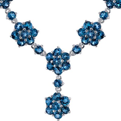Oravo Flower Design 13.75 carats Round Shape London Blue Topaz Multi-Gemstone Necklace in Sterling Silver