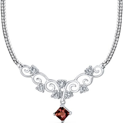 Oravo 0.75 carats Princess Cut Garnet and White CZ Gemstone Necklace in Sterling Silver