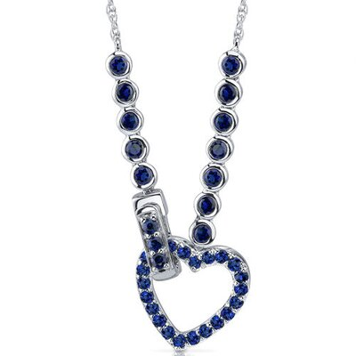 Oravo One of a Kind Round Shape Created Sapphire Gemstone Pendant Necklace in Sterling Silver