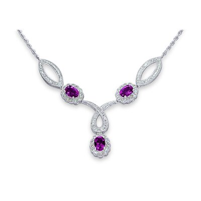 Antique Style 2.25 Carats Oval Shape Amethyst and White CZ Gemstone Necklace in Sterling Silver ...