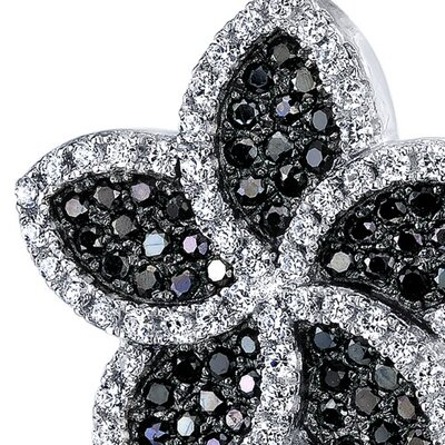 Oravo Black and White Cubic Zirconia Intricate Flower Pendant