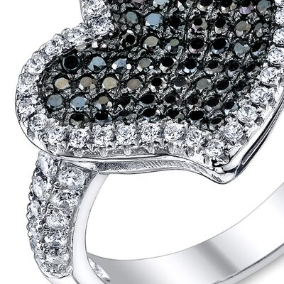 Oravo Sterling Silver Rhodium Finish CZ Twinkling Heart  Ring