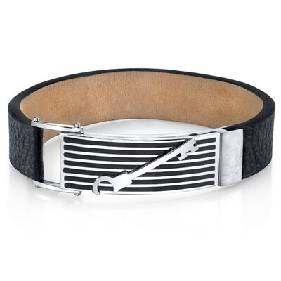 Men's Striped Key Black Genuine Leather and Stainless Steel Bracelet