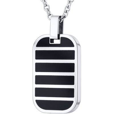 Oravo Solid Black Striped Stainless Steel Dog Tag Style Pendant