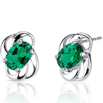 1.50 Carats Oval Cut Emerald Earrings