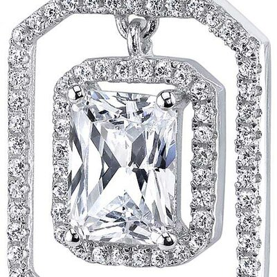 Oravo Sterling Silver Radiant Cut Cubic Zirconia Pendant Necklace