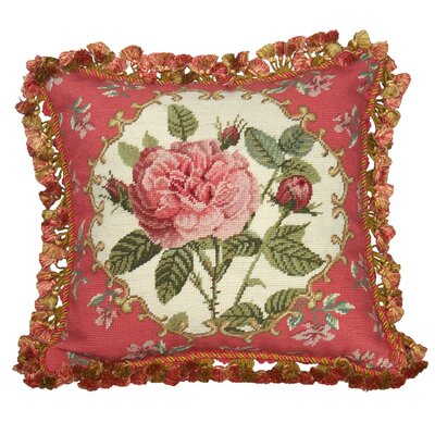 Rose 100% Wool Needlepoint Pillow