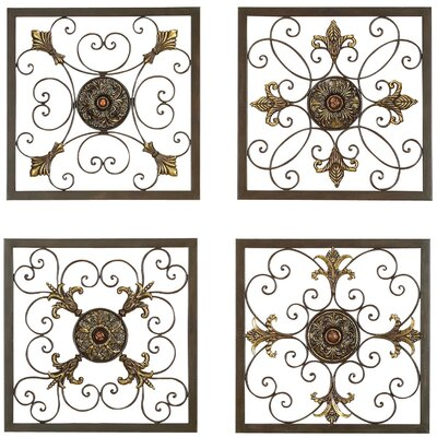 bronze color 4 piece set metal wrought iron wall plaque decor sconces sculpture ebay. Black Bedroom Furniture Sets. Home Design Ideas