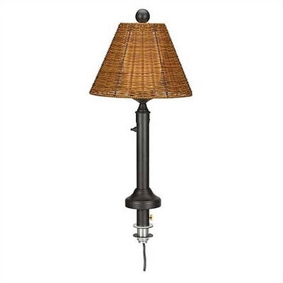 Patio Living Concepts Tahiti Outdoor Umbrella Table Lamp with Wicker Shade