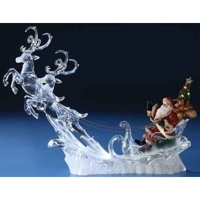 Roman, Inc. LED Santa on Sleigh with Deer