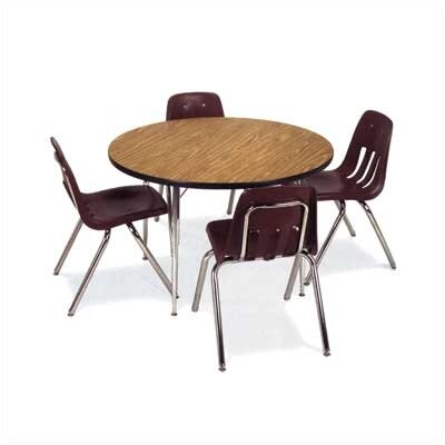 "Virco 4000 Series 36"" Round Activity Table with Fully Chrome Short Legs"