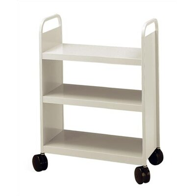 Virco Library Book Truck with 3 Flat Shelves