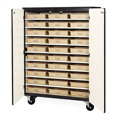 Virco 66&quot; H Mobile Storage Cabinet with 30 Tote Trays