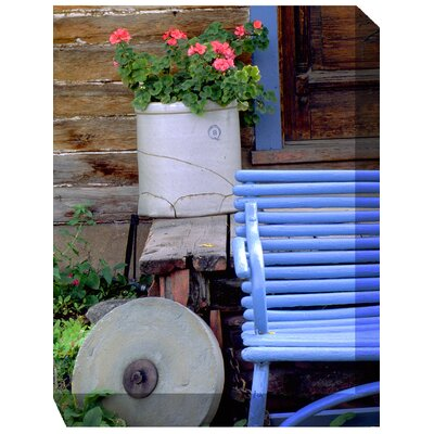 Blue Bench and Crock Outdoor Canvas Art
