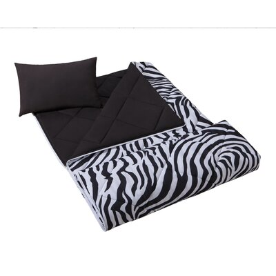 On Your Own Bright Zebra Microfiber Sleeping Bag